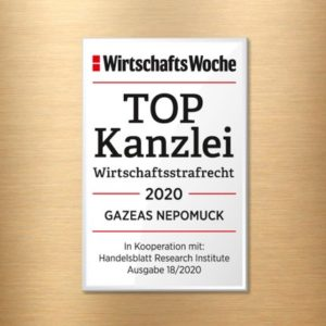 Award as TOP Law Firm for White-Collar Crime 2020 and Dr.Nepomuck as TOP Attorney for White-Collar Crime 2020 by the business magazine WirtschaftsWoche