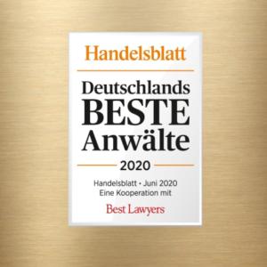 Handelsblatt Deutschlands BESTE Anwälte 2020: Auszeichnung für Dr. Gazeas im Wirtschaftsstrafrecht und Dr. Nepomuck im Bereich Compliance