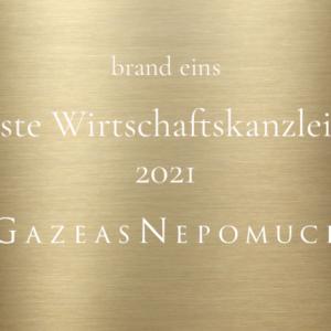 """Best Commercial Law Firms 2021"" – brand eins awards again GAZEAS NEPOMUCK"
